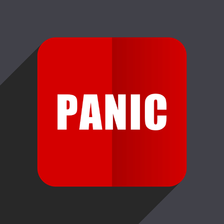 Panic flat design web vector icon. Red square sign on gray background in eps 10. Illustration
