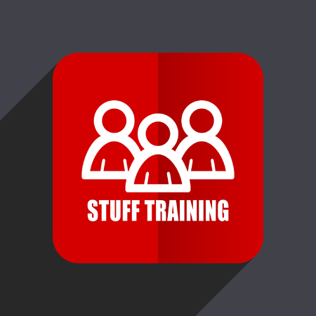 briefing: Stuff training flat design web vector icon. Red square sign on gray background in eps 10.