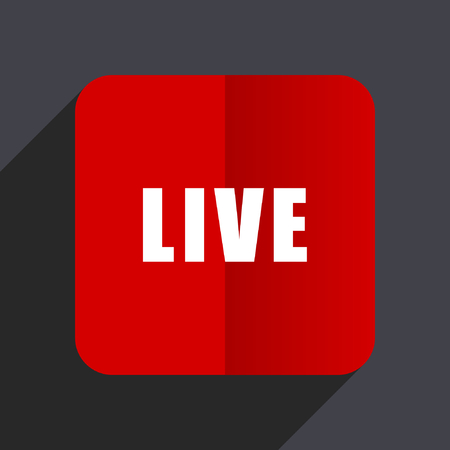 news cast: Live flat design web vector red icon