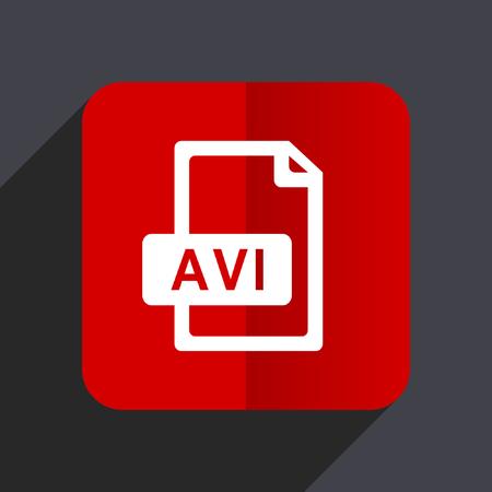 Avi file flat design web vector red icon