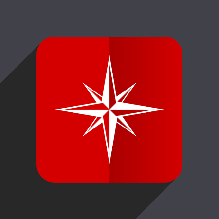 geodesy: Compass flat design web vector red icon