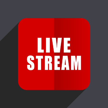 news cast: Live stream flat design web vector red icon Illustration