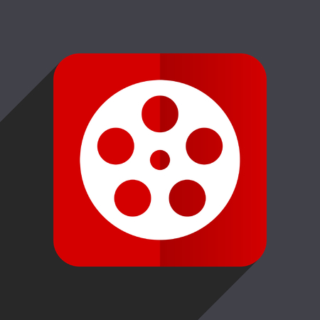 Film flat design web vector red icon