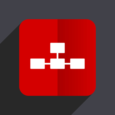 Database flat design web vector red icon