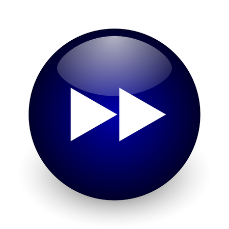 Rewind blue glossy ball web icon on white background. Round 3d render button. Stock Photo