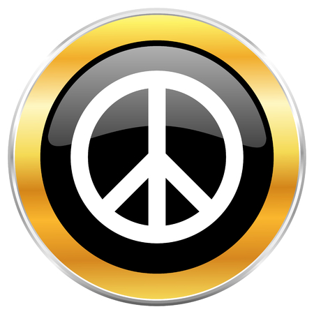 Peace black web icon with golden border isolated on white background. Round glossy button. Stock Photo