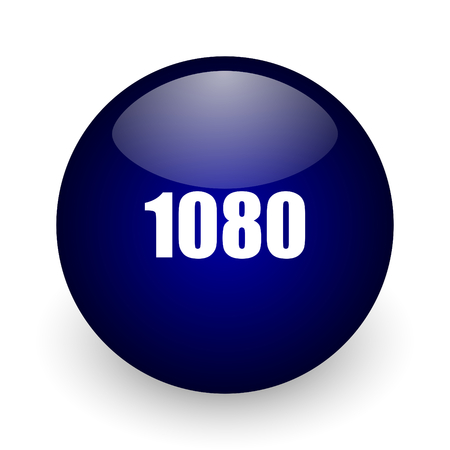 1080 blue glossy ball web icon on white background. Round 3d render button.