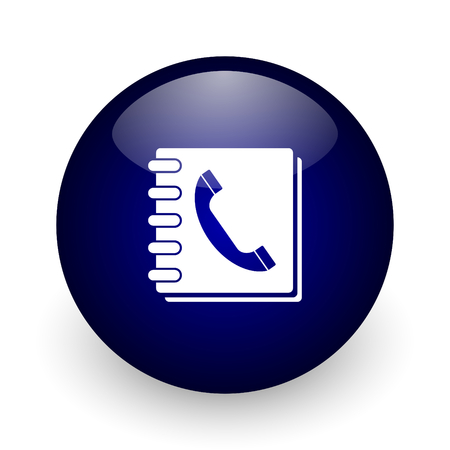 Phonebook blue glossy ball web icon on white background. Round 3d render button.