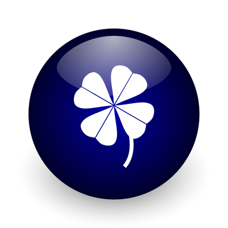 lucky clover: Four-leaf clover blue glossy ball web icon on white background. Round 3d render button.