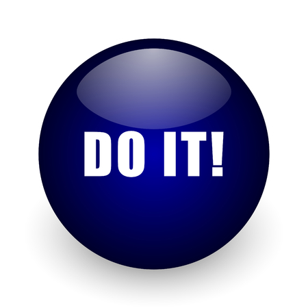 Do it blue glossy ball web icon on white background. Round 3d render button.