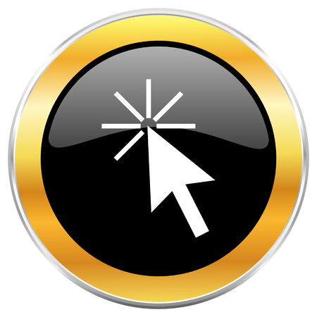 Click here black web icon with golden border isolated on white background. Round glossy button.