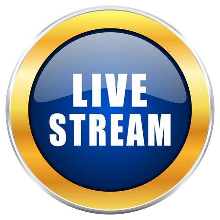 Live stream blue web icon with golden chrome metallic border isolated on white background for web and mobile apps designers.