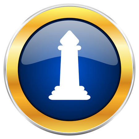 Chess blue web icon with golden chrome metallic border isolated on white background for web and mobile apps designers.