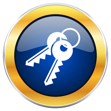 Keys blue web icon with golden chrome metallic border isolated on white background for web and mobile apps designers.