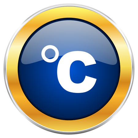 coldness: Celsius blue web icon with golden chrome metallic border isolated on white background for web and mobile apps designers.
