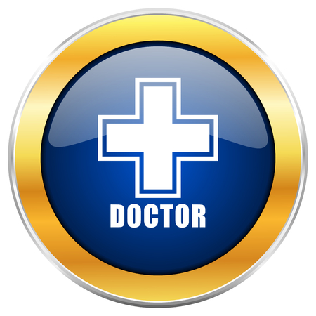 Doctor blue web icon with golden chrome metallic border isolated on white background for web and mobile apps designers. Stock Photo