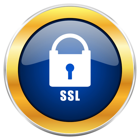 Csl blue web icon with golden chrome metallic border isolated on white background for web and mobile apps designers.