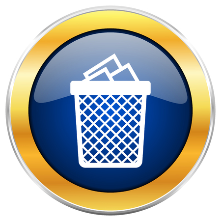 wastebasket: Trash can blue web icon with golden chrome metallic border isolated on white background for web and mobile apps designers.