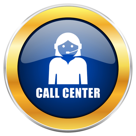 Call center blue web icon with golden chrome metallic border isolated on white background for web and mobile apps designers.