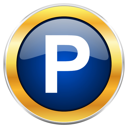 pause button: Parking blue web icon with golden chrome metallic border isolated on white background for web and mobile apps designers.
