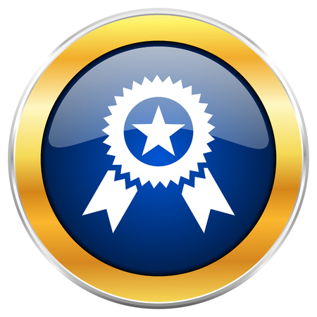 Award blue web icon with golden chrome metallic border isolated on white background for web and mobile apps designers.