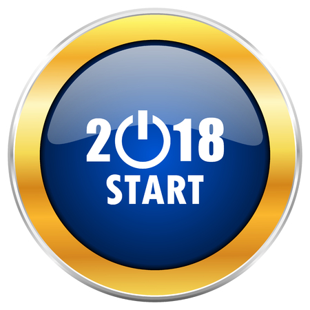 begin: New year 2018 blue web icon with golden chrome metallic border isolated on white background for web and mobile apps designers.