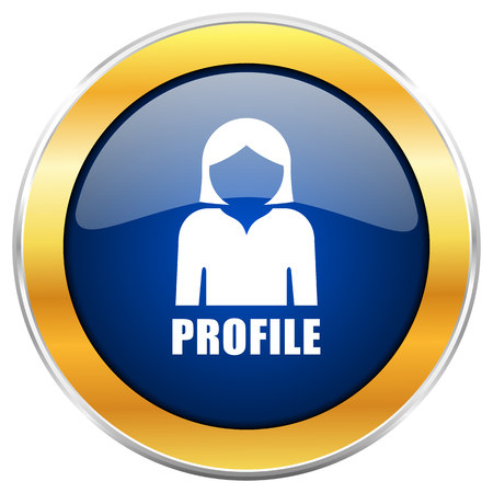 Profile blue web icon with golden chrome metallic border isolated on white background for web and mobile apps designers. Stock Photo