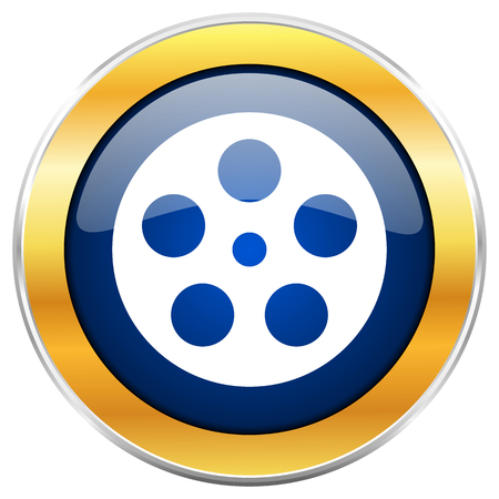 Film blue web icon with golden chrome metallic border isolated on white background for web and mobile apps designers.