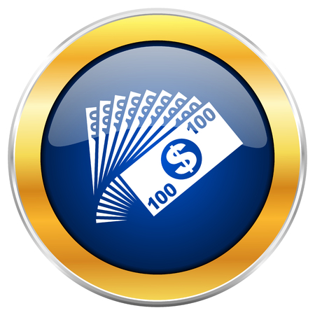 Money blue web icon with golden chrome metallic border isolated on white background for web and mobile apps designers.