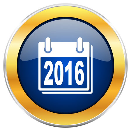 begin: New year 2016 blue web icon with golden chrome metallic border isolated on white background for web and mobile apps designers.