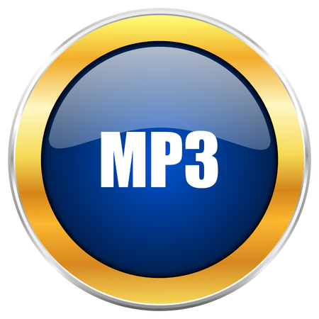 Mp3 blue web icon with golden chrome metallic border isolated on white background for web and mobile apps designers.