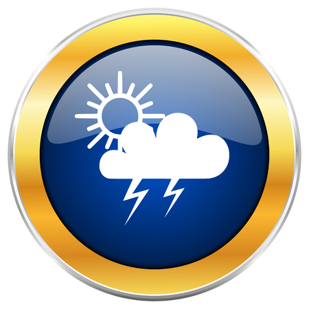 Storm blue web icon with golden chrome metallic border isolated on white background for web and mobile apps designers.
