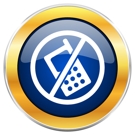 banned: No phone blue web icon with golden chrome metallic border isolated on white background for web and mobile apps designers.