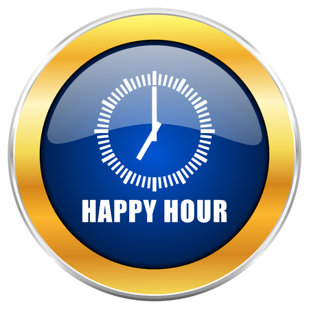Happy hour blue web icon with golden chrome metallic border isolated on white background for web and mobile apps designers. Stock Photo