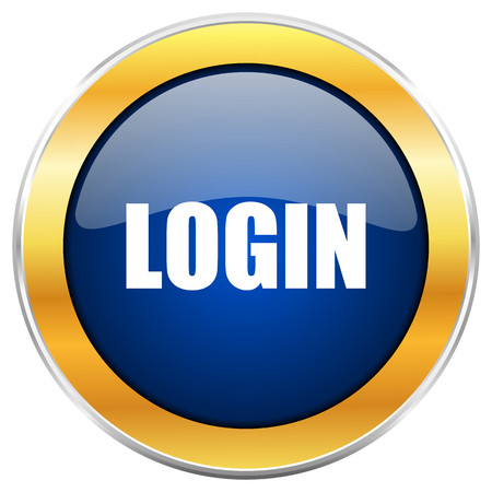Log Out: Login blue web icon with golden chrome metallic border isolated on white background for web and mobile apps designers.