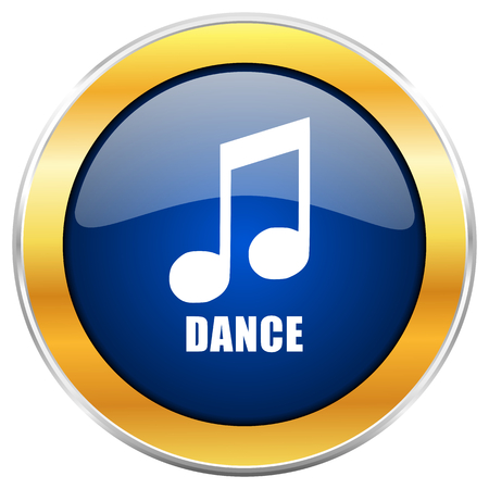 genre: Dance music blue web icon with golden chrome metallic border isolated on white background for web and mobile apps designers.