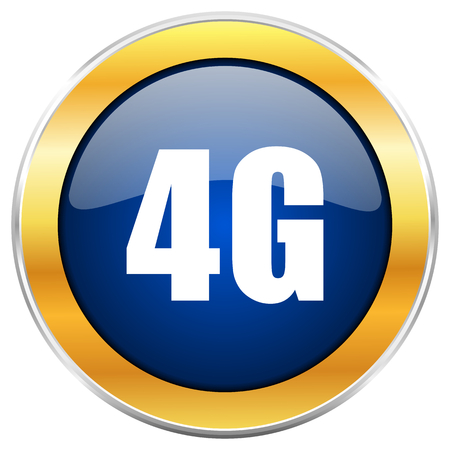 4g blue web icon with golden chrome metallic border isolated on white background for web and mobile apps designers.