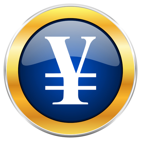 Yen blue web icon with golden chrome metallic border isolated on white background for web and mobile apps designers.