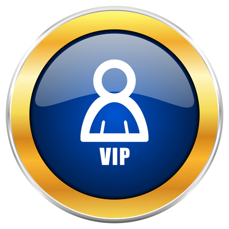Vip blue web icon with golden chrome metallic border isolated on white background for web and mobile apps designers. Stock Photo