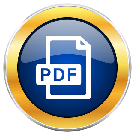 Pdf file blue web icon with golden chrome metallic border isolated on white background for web and mobile apps designers. Stock Photo