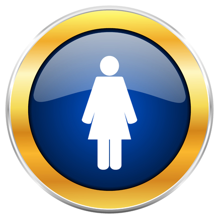 Female blue web icon with golden chrome metallic border isolated on white background for web and mobile apps designers.