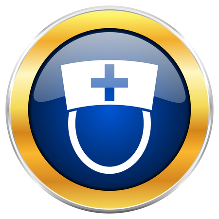Nurse blue web icon with golden chrome metallic border isolated on white background for web and mobile apps designers. Stock Photo