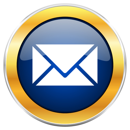 Email blue web icon with golden chrome metallic border isolated on white background for web and mobile apps designers.