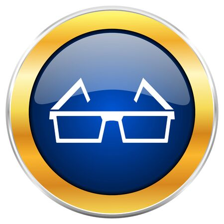 eyewear: 3d glasses blue web icon with golden chrome metallic border isolated on white background for web and mobile apps designers.
