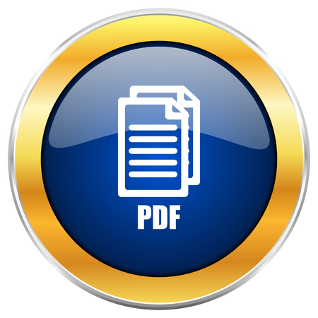 bibliography: Pdf blue web icon with golden chrome metallic border isolated on white background for web and mobile apps designers., Stock Photo