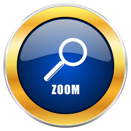 Zoom blue web icon with golden chrome metallic border isolated on white background for web and mobile apps designers.