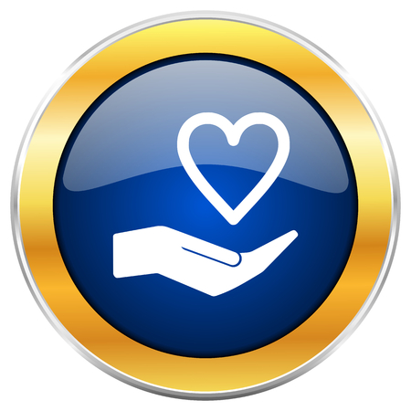 Care love blue web icon with golden chrome metallic border isolated on white background for web and mobile apps designers.