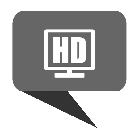 lcd tv: Hd display flat design web bubble vector icon.