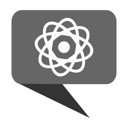 radioactive sign: Atom flat design web bubble vector icon.