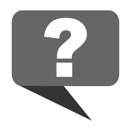 inquiry: Question mark flat design web bubble vector icon.